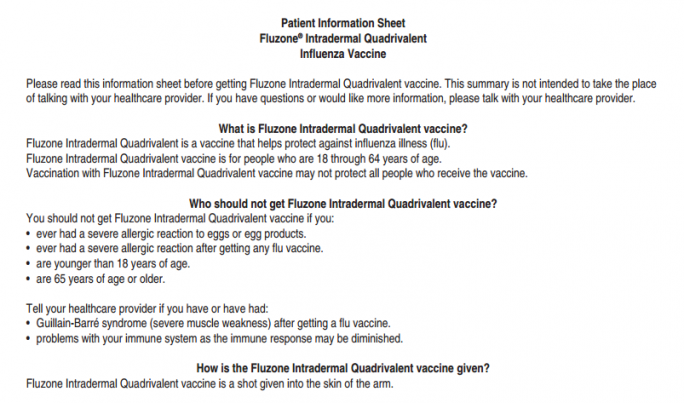 Fluzone Intradermal Quadrivalent Influenza Vaccine: patient