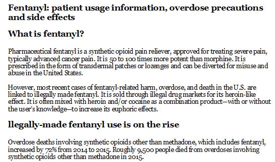 Fentanyl Patient Usage Information Overdose Precautions